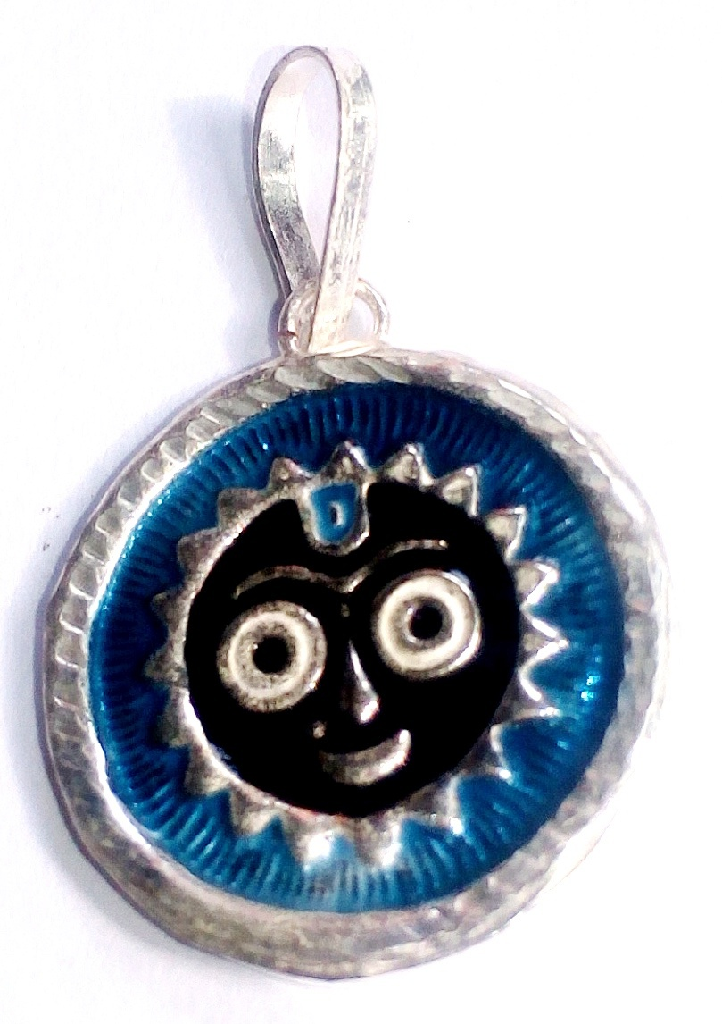 Silver Jagnnath Pendant or Locket Dark Blue Colour